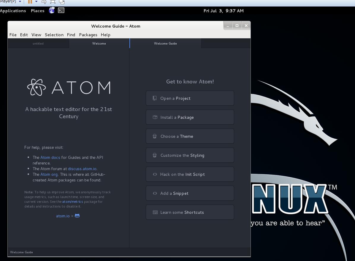 Kali Linux で Atom Editor を動かす